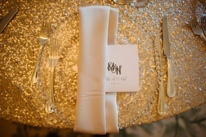 Wedding Place Settings: Flawless Gold & White Wedding at Fox Chapel Golf Club from Michael Will Photography featured on Burgh Brides