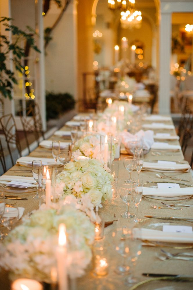 Wedding Table Runners with Candles and Flowers: Flawless Gold & White Wedding at Fox Chapel Golf Club from Michael Will Photography featured on Burgh Brides