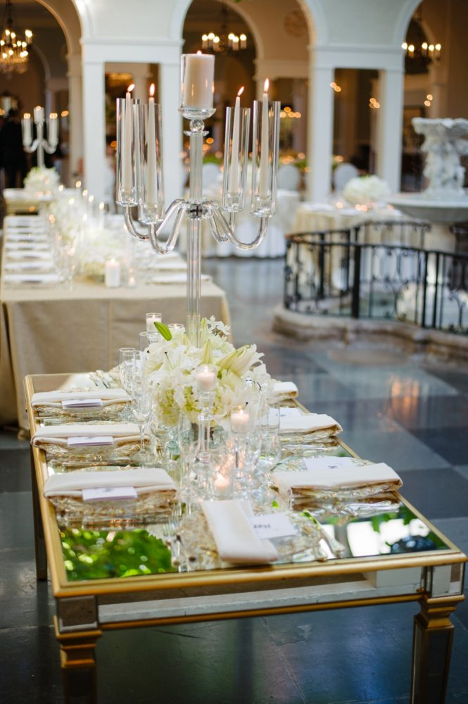 Mirror Tables at Wedding: Flawless Gold & White Wedding at Fox Chapel Golf Club from Michael Will Photography featured on Burgh Brides
