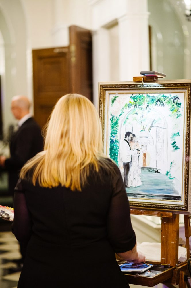 Live Art at Wedding: Flawless Gold & White Wedding at Fox Chapel Golf Club from Michael Will Photography featured on Burgh Brides