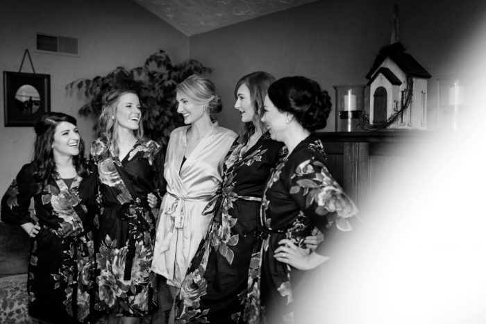 Matching Floral Bridesmaids Robes: Greenery Inspired Wedding at the Butler Country Club from Kristen Wynn Photography featured on Burgh Brides