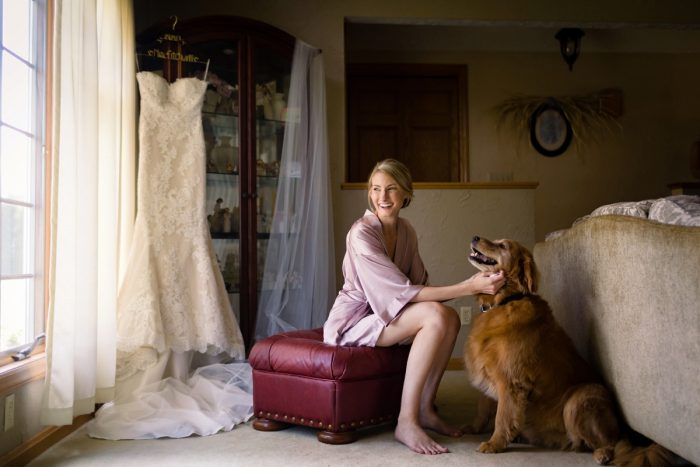 Bride and Dog on Wedding Day: Greenery Inspired Wedding at the Butler Country Club from Kristen Wynn Photography featured on Burgh Brides