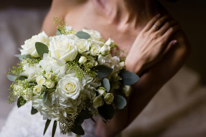White and Green Bridal Bouquet: Greenery Inspired Wedding at the Butler Country Club from Kristen Wynn Photography featured on Burgh Brides