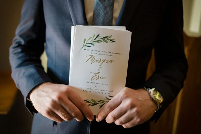 Greenery Inspired Wedding Ceremony Programs: Greenery Inspired Wedding at the Butler Country Club from Kristen Wynn Photography featured on Burgh Brides