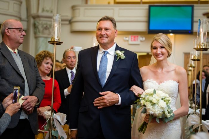 Bride Walking Down Aisle: Greenery Inspired Wedding at the Butler Country Club from Kristen Wynn Photography featured on Burgh Brides