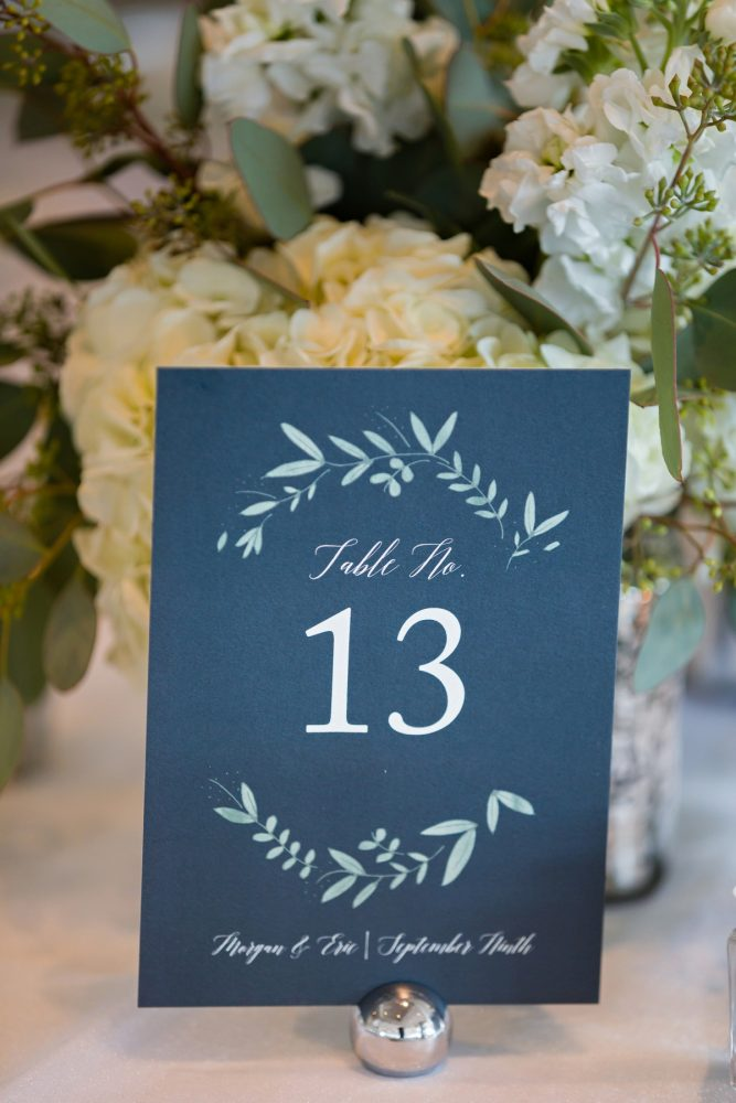 Wedding Table Numbers: Greenery Inspired Wedding at the Butler Country Club from Kristen Wynn Photography featured on Burgh Brides