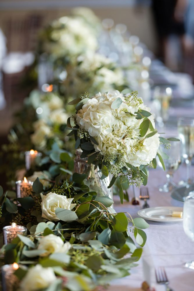 White and Green Wedding Centerpieces: Greenery Inspired Wedding at the Butler Country Club from Kristen Wynn Photography featured on Burgh Brides