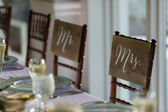 Mr and Mrs Wedding Chair Signs: Greenery Inspired Wedding at the Butler Country Club from Kristen Wynn Photography featured on Burgh Brides