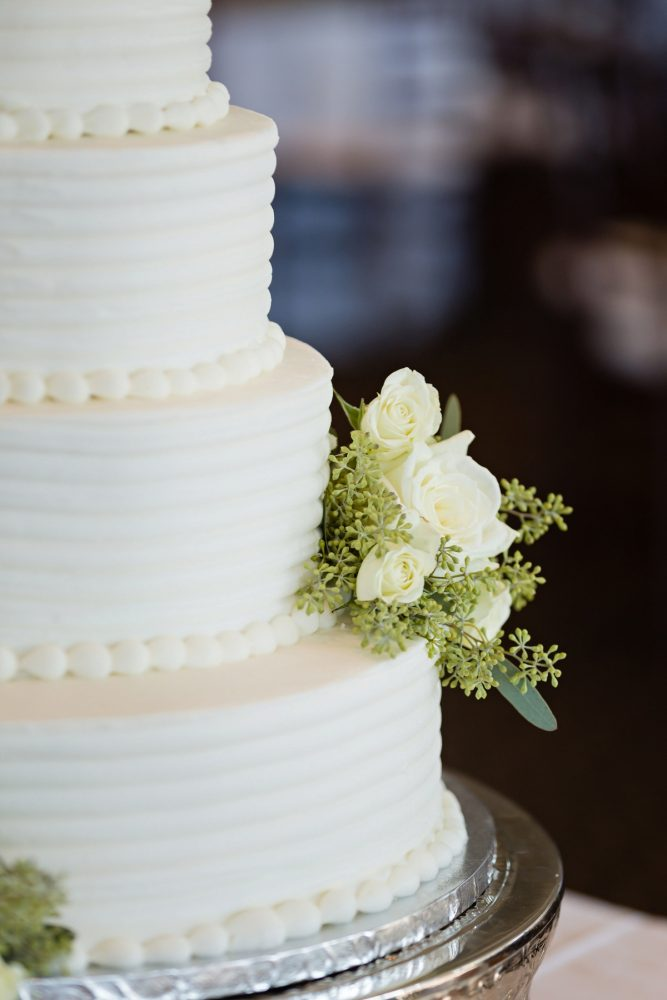 White Buttercream Wedding Cake: Greenery Inspired Wedding at the Butler Country Club from Kristen Wynn Photography featured on Burgh Brides