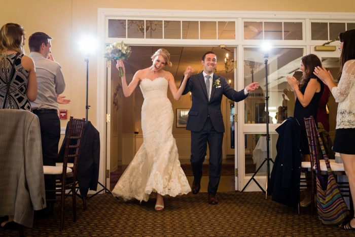 Bride and Groom Entrance: Greenery Inspired Wedding at the Butler Country Club from Kristen Wynn Photography featured on Burgh Brides