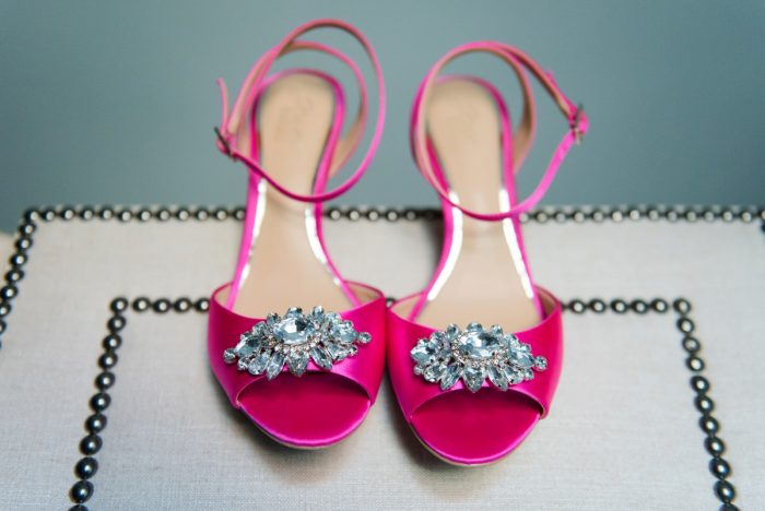 Pink Rhinestone Wedding Shoes: Old World Romance Wedding at the Omni William Penn Hotel from Leeann Marie Wedding Photographers featured on Burgh Brides