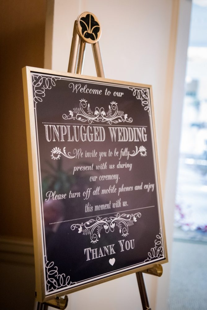 Unplugged Wedding Ceremony Signs: Old World Romance Wedding at the Omni William Penn Hotel from Leeann Marie Wedding Photographers featured on Burgh Brides