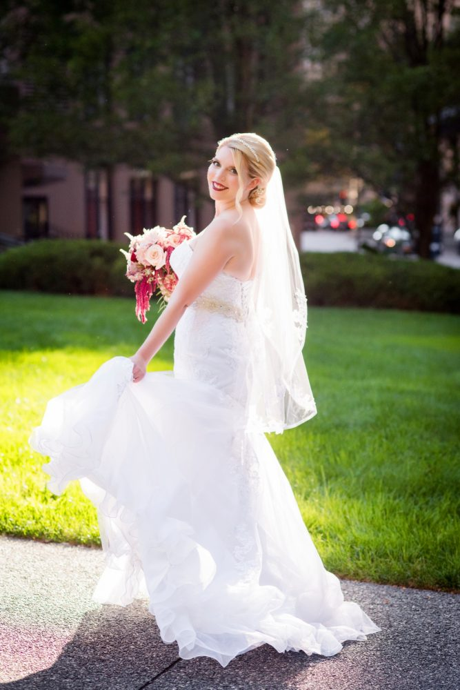 Lace Wedding Dress with Beaded Belt: Old World Romance Wedding at the Omni William Penn Hotel from Leeann Marie Wedding Photographers featured on Burgh Brides