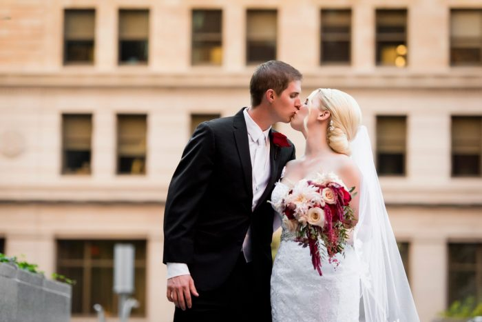 Pink and Burgundy Wedding Bouquet: Old World Romance Wedding at the Omni William Penn Hotel from Leeann Marie Wedding Photographers featured on Burgh Brides