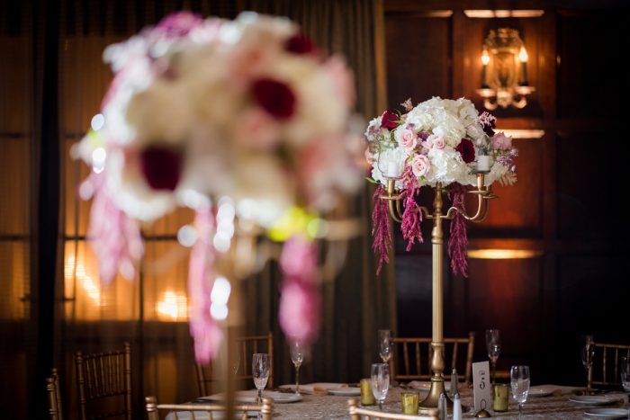 Elevated Gold Candelabra Wedding Centerpieces: Old World Romance Wedding at the Omni William Penn Hotel from Leeann Marie Wedding Photographers featured on Burgh Brides