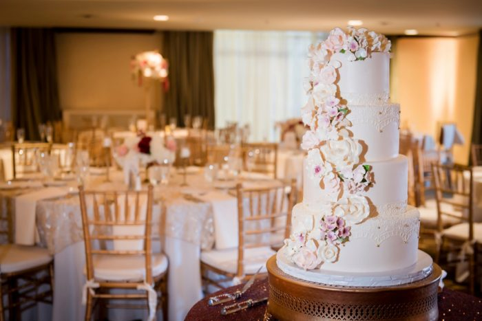 Sugar Flowers on Wedding Cake: Old World Romance Wedding at the Omni William Penn Hotel from Leeann Marie Wedding Photographers featured on Burgh Brides