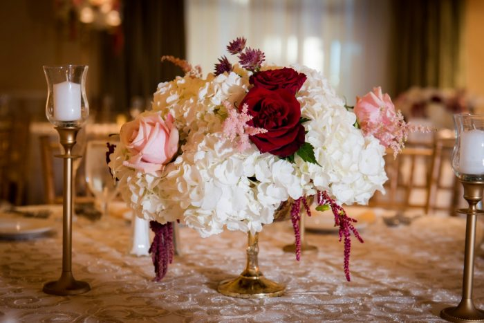 Pink and Marsala Wedding Flowers: Old World Romance Wedding at the Omni William Penn Hotel from Leeann Marie Wedding Photographers featured on Burgh Brides