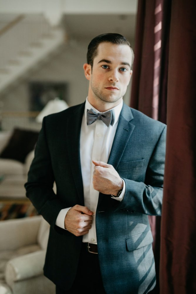 Groom Bow Tie: Rustic Modern Wedding at Nemacolin from David McCandless Photography featured on Burgh Brides
