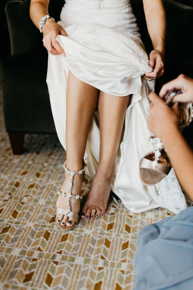 Beaded Wedge Bridal Shoes: Rustic Modern Wedding at Nemacolin from David McCandless Photography featured on Burgh Brides