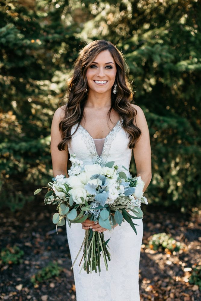 Blue, Green, and White Wedding Bouquet: Rustic Modern Wedding at Nemacolin from David McCandless Photography featured on Burgh Brides