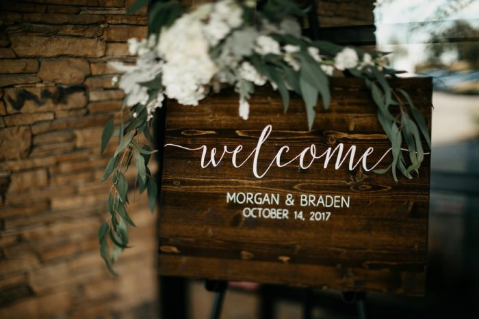 Wooden Wedding Welcome Signs: Rustic Modern Wedding at Nemacolin from David McCandless Photography featured on Burgh Brides
