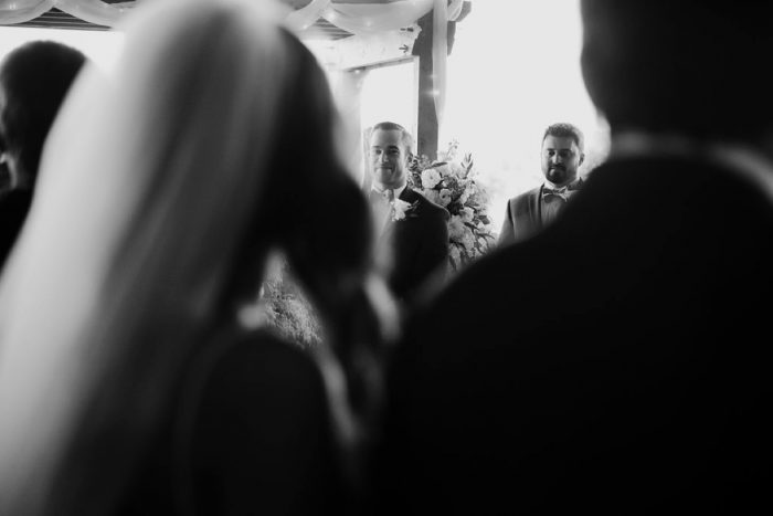 Bride Walking Down Aisle: Rustic Modern Wedding at Nemacolin from David McCandless Photography featured on Burgh Brides