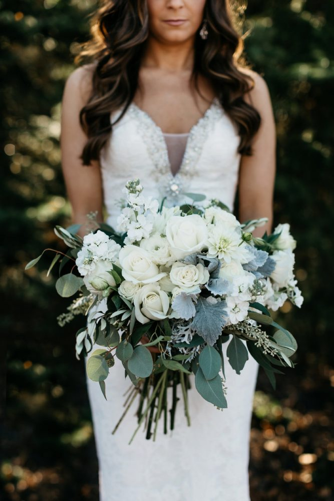 Blue, White, and Green Bridal Bouquet: Rustic Modern Wedding at Nemacolin from David McCandless Photography featured on Burgh Brides