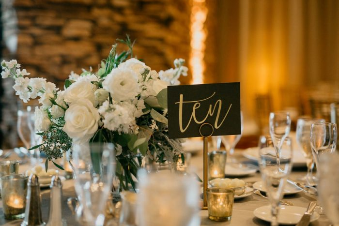 Hand Lettered Wedding Table Numbers: Rustic Modern Wedding at Nemacolin from David McCandless Photography featured on Burgh Brides