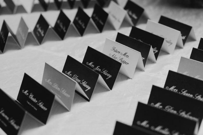 Wedding Escort Cards: Rustic Modern Wedding at Nemacolin from David McCandless Photography featured on Burgh Brides