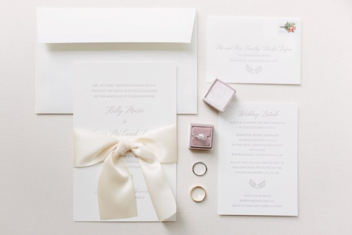 Classic Wedding Invitations: Soft & Chic Wedding at Hotel Monaco from Jeannine Bonadio Photography featured on Burgh Brides