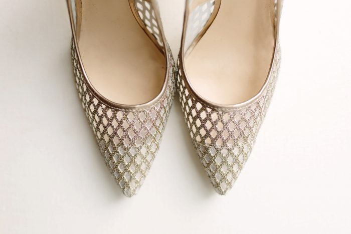Gold Wedding Shoes: Soft & Chic Wedding at Hotel Monaco from Jeannine Bonadio Photography featured on Burgh Brides