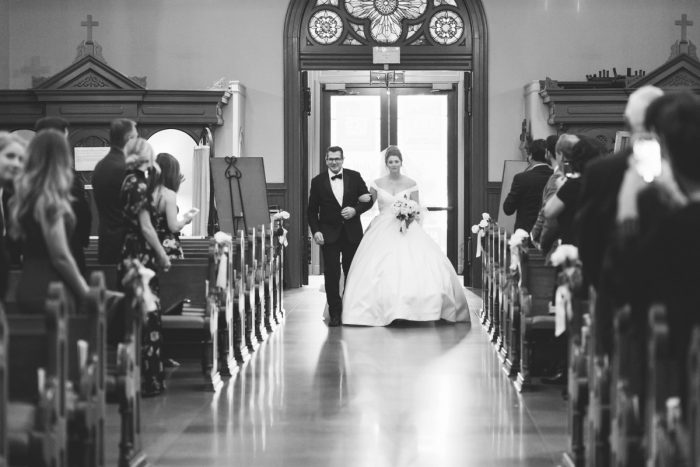 Bride Walking Down Aisle: Soft & Chic Wedding at Hotel Monaco from Jeannine Bonadio Photography featured on Burgh Brides