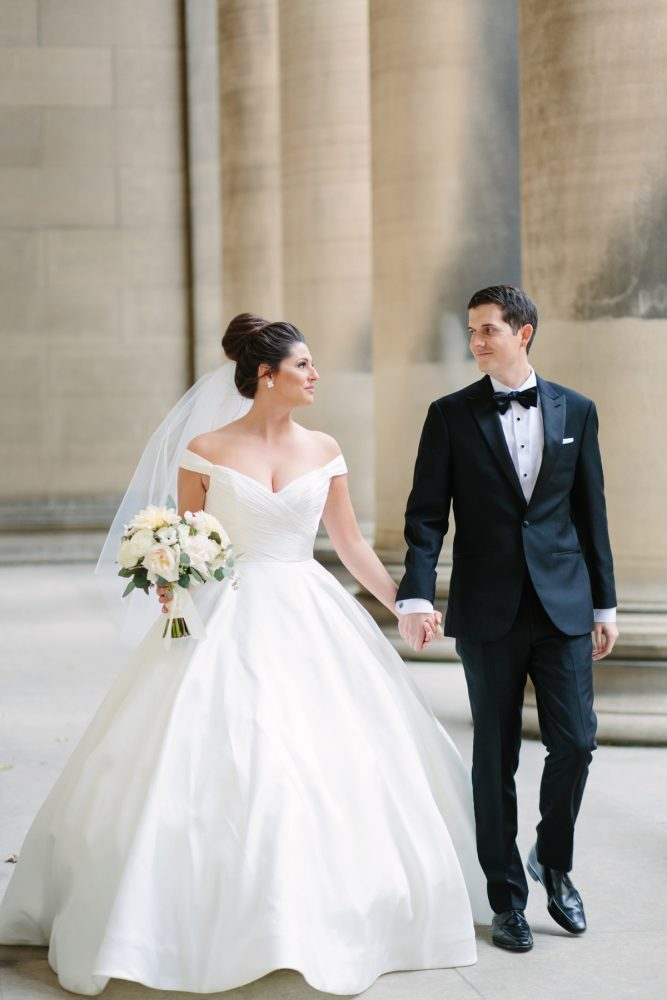 Off the Shoulder Wedding Dress: Soft & Chic Wedding at Hotel Monaco from Jeannine Bonadio Photography featured on Burgh Brides