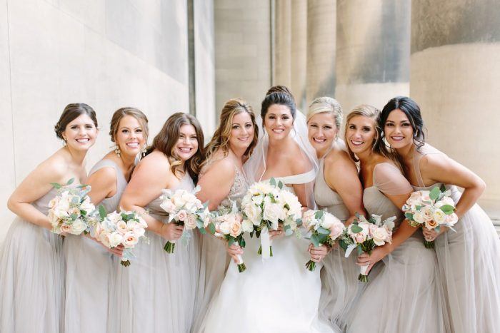 Taupe Bridesmaids Dresses: Soft & Chic Wedding at Hotel Monaco from Jeannine Bonadio Photography featured on Burgh Brides