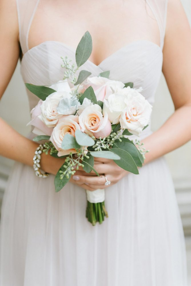 Blush Bridesmaids Bouquet: Soft & Chic Wedding at Hotel Monaco from Jeannine Bonadio Photography featured on Burgh Brides
