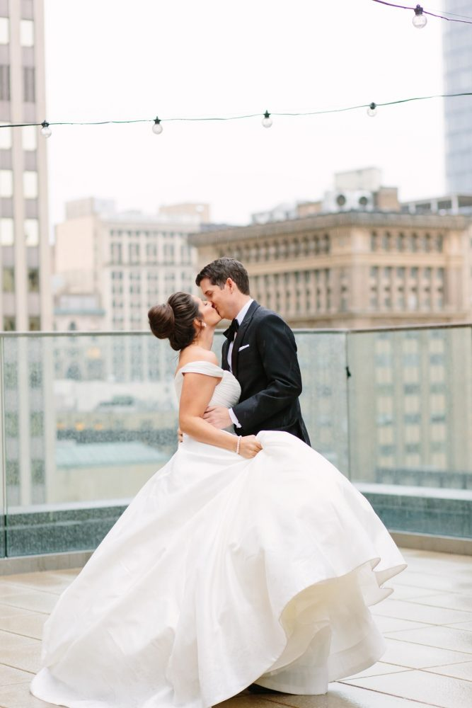 Rooftop Wedding Photos: Soft & Chic Wedding at Hotel Monaco from Jeannine Bonadio Photography featured on Burgh Brides