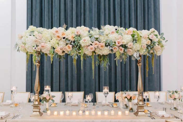 Sweetheart Table Decor: Soft & Chic Wedding at Hotel Monaco from Jeannine Bonadio Photography featured on Burgh Brides
