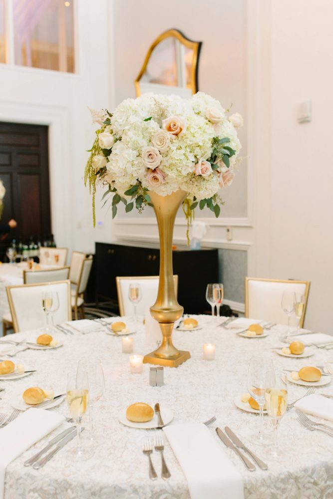 Blush Wedding Flowers on Gold Stand: Soft & Chic Wedding at Hotel Monaco from Jeannine Bonadio Photography featured on Burgh Brides