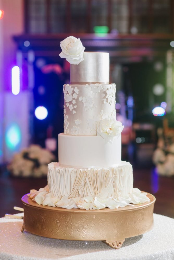 Silver Wedding Cake: Soft & Chic Wedding at Hotel Monaco from Jeannine Bonadio Photography featured on Burgh Brides