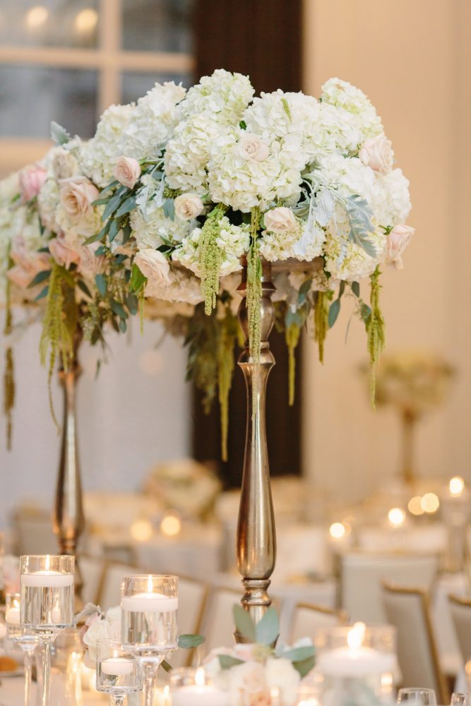 Blush and Green Wedding Flowers on Gold Stand: Soft & Chic Wedding at Hotel Monaco from Jeannine Bonadio Photography featured on Burgh Brides