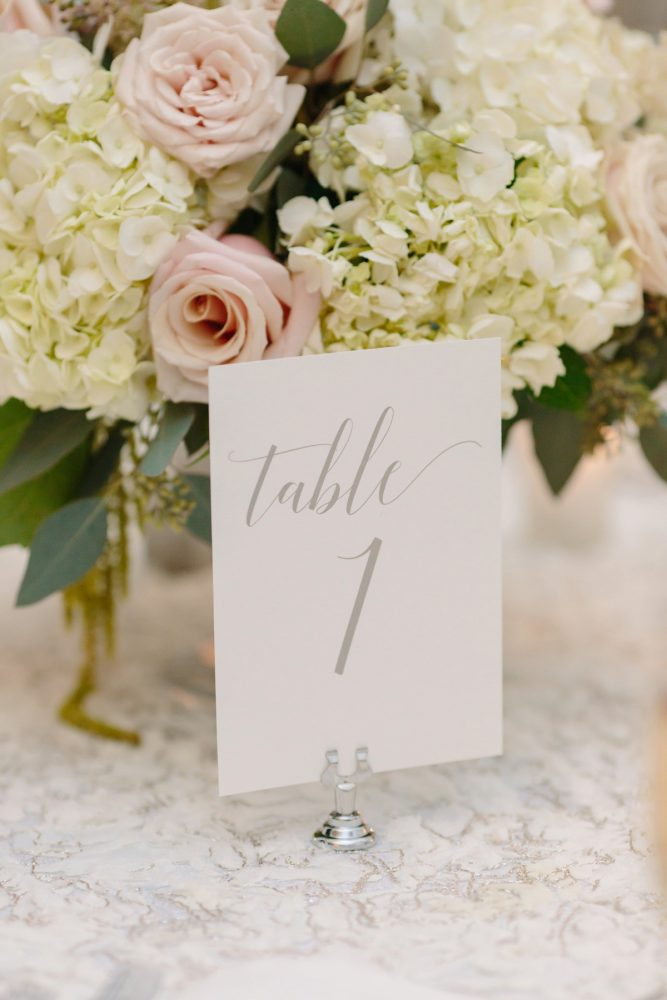 Calligraphy Wedding Table Numbers: Soft & Chic Wedding at Hotel Monaco from Jeannine Bonadio Photography featured on Burgh Brides
