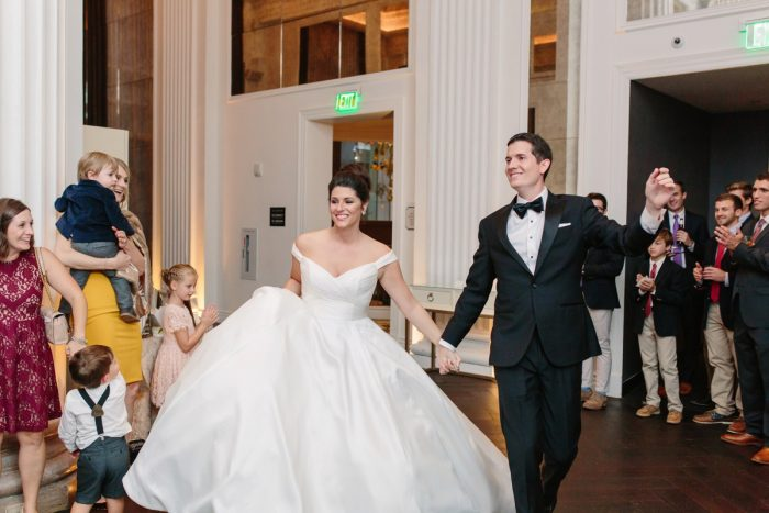 Bride and Groom Entrance: Soft & Chic Wedding at Hotel Monaco from Jeannine Bonadio Photography featured on Burgh Brides