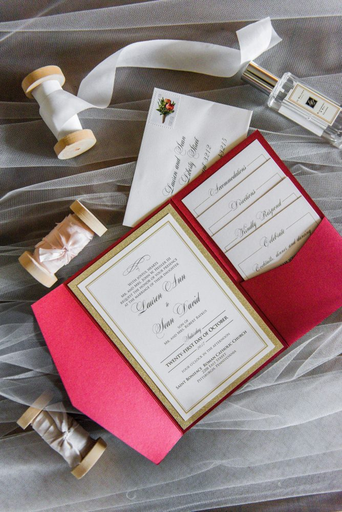 Red and Gold Wedding Invitations: Sophisticated Merlot Wedding at the Omni William Penn Hotel from Leeann Marie, Wedding Photographers featured on Burgh Brides