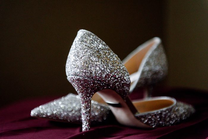 Silver Glitter Wedding Shoes for Bride: Sophisticated Merlot Wedding at the Omni William Penn Hotel from Leeann Marie, Wedding Photographers featured on Burgh Brides