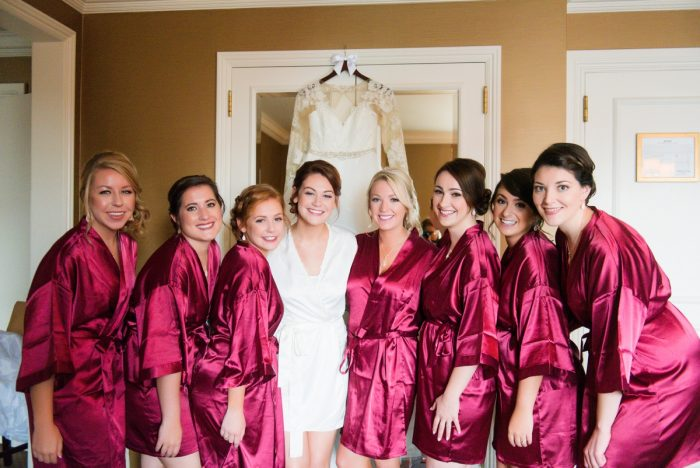 Satin Robes for Bride and Bridesmaids: Sophisticated Merlot Wedding at the Omni William Penn Hotel from Leeann Marie, Wedding Photographers featured on Burgh Brides