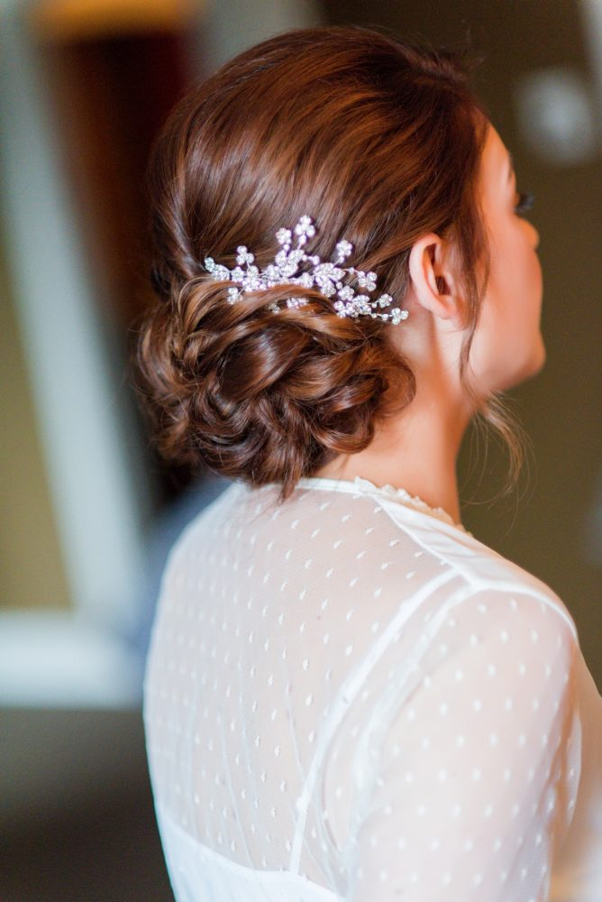Beaded Wedding Hair Piece for Bride: Sophisticated Merlot Wedding at the Omni William Penn Hotel from Leeann Marie, Wedding Photographers featured on Burgh Brides