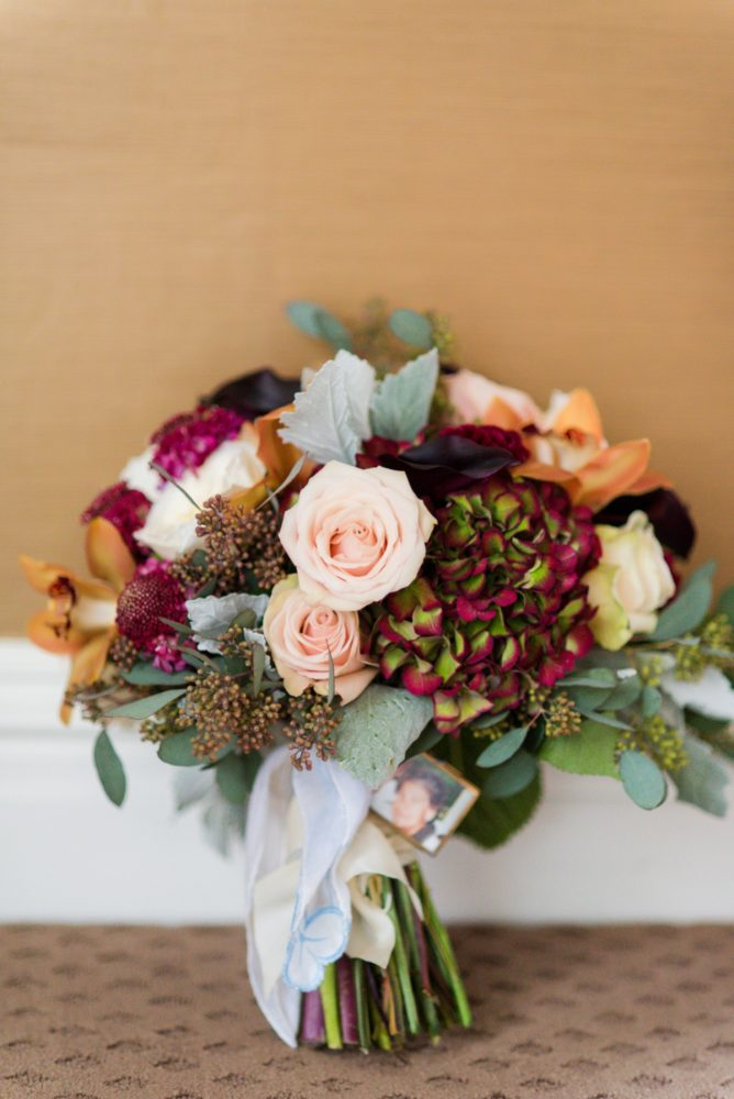Marsala Wedding Bouquet: Sophisticated Merlot Wedding at the Omni William Penn Hotel from Leeann Marie, Wedding Photographers featured on Burgh Brides
