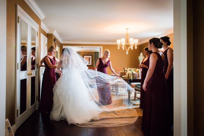 Bridal Veil: Sophisticated Merlot Wedding at the Omni William Penn Hotel from Leeann Marie, Wedding Photographers featured on Burgh Brides