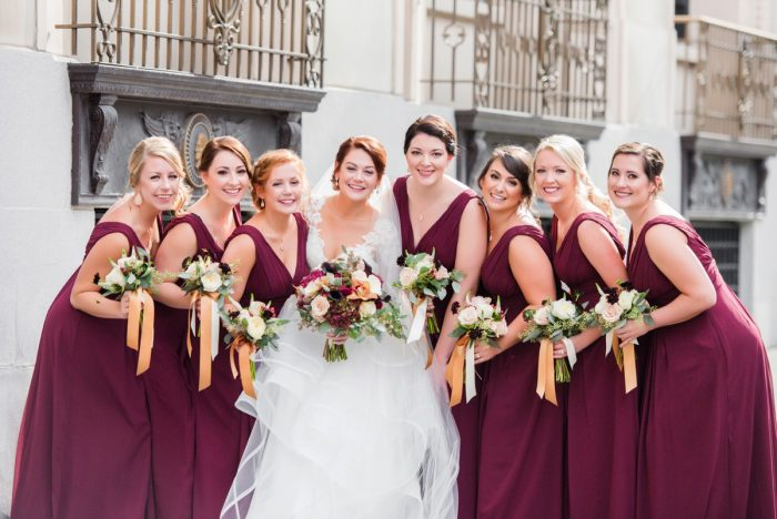 Marsala Bridesmaids Dresses: Sophisticated Merlot Wedding at the Omni William Penn Hotel from Leeann Marie, Wedding Photographers featured on Burgh Brides