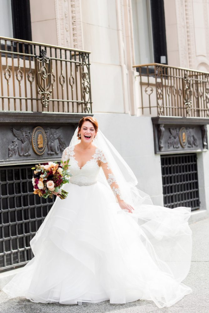 Long Sleeve Wedding Dress: Sophisticated Merlot Wedding at the Omni William Penn Hotel from Leeann Marie, Wedding Photographers featured on Burgh Brides